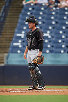 Jupiter Hammerheads catcher Nick Fortes (7) during a Florida State League game against the Tampa Tarpons on July 26, 2019 at George M. Steinbrenner Field in Tampa, Florida.  Tampa defeated Jupiter 2-0 in the first game of a doubleheader.  (Mike Janes/Four Seam Images)