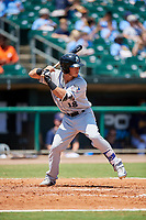 Biloxi Shuckers first baseman Dylan Moore (18) at bat during a game against the Montgomery Biscuits on May 8, 2018 at Montgomery Riverwalk Stadium in Montgomery, Alabama.  Montgomery defeated Biloxi 10-5.  (Mike Janes/Four Seam Images)