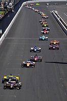 30th May 2021, Indianapolis, Indiana, USA;  NTT Indy Car Series driver Rinus VeeKay (21) leads the field down the front straightaway during the 105th running of the Indianapolis 500 on May 30, 2021 at the Indianapolis Motor Speedway in Indianapolis, Indiana.