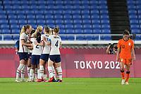 YOKOHAMA, JAPAN - JULY 30: The USWNT celebrate a goal during a game between Netherlands and USWNT at International Stadium Yokohama on July 30, 2021 in Yokohama, Japan.