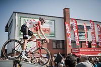 Tiesj Benoot (BEL/Lotto-Soudal) rolling off the start presentation podium<br /> <br /> 62nd E3 BinckBank Classic (Harelbeke) 2019 <br /> One day race (1.UWT) from Harelbeke to Harelbeke (204km)<br /> <br /> ©kramon
