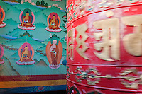 Bodhnath, Nepal.  Buddhist Prayer Wheel Turning, Tsamchen Gompa.