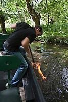 Europe/France/Poitou-Charentes/79/Deux-Sèvres/Sansais/La Garette:  Promenade en barque  plate  localement dénommées:batais avec batelier-guide,Le batelier montre:  Le feu sur l'eau  .On enflamme les bulles de méthane qui proviennent de la fermentation des végétaux . Au fond du fossé <br /> ans le fond des canaux, les débris végétaux s'accumulent. Leur décomposition lente produit du méthane, un gaz inflammable . En agitant la vase avec leur pigouille, le gaz est libéré. Il remonte à la surface de l'eau et il est très facile de l'enflammer.  [Autorisation : 2011-118]