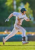 1 September 2013: Vermont Lake Monsters outfielder Billy McKinney hustles to first during a game against the Connecticut Tigers at Centennial Field in Burlington, Vermont. The Lake Monsters fell to the Tigers 6-4 in 10 innings of NY Penn League action. Mandatory Credit: Ed Wolfstein Photo *** RAW Image File Available ****