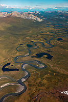 Aerial of the wild and scenic Wind River, Brooks Range mountains, Arctic National Wildlife Refuge, Alaska.
