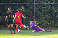 Lotte Keukelaar (11) of the Netherlands, Chelsea Godier (3) of Belgium and Goalkeeper Lise Musique (1) of Belgium in action during an international friendly female soccer game between the national teams of Belgium , called the Red Flames U17 and the Netherlands on Wednesday 8th of September 2020  in Kalmthout , Belgium . PHOTO SPORTPIX.BE | SPP | SEVIL OKTEM