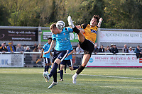 Mitchell Dickenson of Eastbourne Borough and Maidstone's Alfie Pavey challenge for the ball during Maidstone United vs Eastbourne Borough, Vanarama National League South Football at the Gallagher Stadium on 9th October 2021