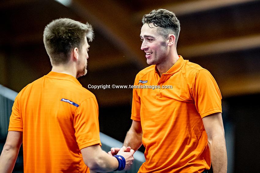 Alphen aan den Rijn, Netherlands, December 21, 2019, TV Nieuwe Sloot,  NK Tennis, Men's doubles final:  Sander Arends (NED) and David Pel (NED) (R) celebrate their win<br /> Photo: www.tennisimages.com/Henk Koster