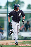 GCL Yankees East first baseman Pedro Urena (99) runs to first during a game against the GCL Pirates on August 15, 2016 at the Pirate City in Bradenton, Florida.  GCL Pirates defeated GCL Yankees East 5-2.  (Mike Janes/Four Seam Images)
