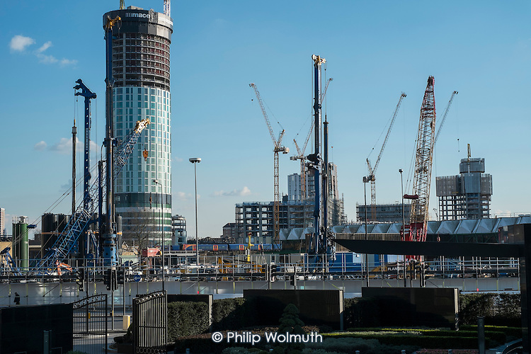Sky Gardens Nine Elms tower and cranes on Barratt's Nine Elms Point development, part the 480 acre Nine Elms regeneration zone, London.
