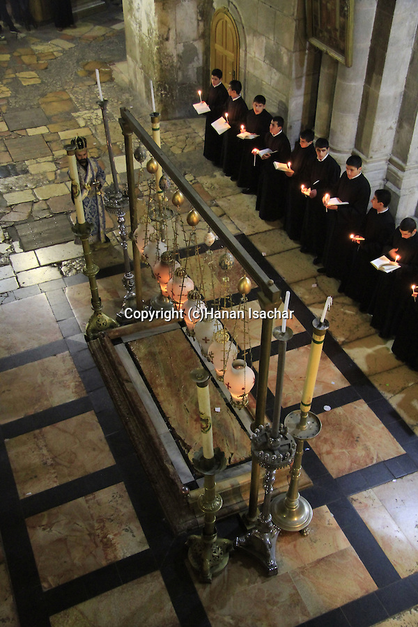 Israel, Jerusalem, Armenian Orthodox ceremony by the Stone of Anointing at the Church of the Holy Sepulchre
