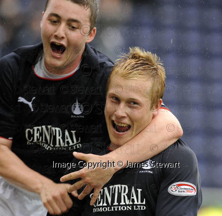 27/09/2008  Copyright Pic: James Stewart.File Name : sct_jspa13_falkirk_v_hamilton.SCOTT ARFIELD CELEBRATES WITH THOMAS SCOBBIE AFTER HE SCORES FALKIRK'S SECOND.James Stewart Photo Agency 19 Carronlea Drive, Falkirk. FK2 8DN      Vat Reg No. 607 6932 25.Studio      : +44 (0)1324 611191 .Mobile      : +44 (0)7721 416997.E-mail  :  jim@jspa.co.uk.If you require further information then contact Jim Stewart on any of the numbers above........