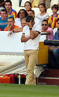 Valencia, Spain. Thursday 19 September 2013<br /> Pictured: Valencia manager Miroslav Dukic holds his head in his hand after Adil Rami was red carded for his foul against Wilfried Bony of Swansea<br /> Re: UEFA Europa League game against Valencia C.F v Swansea City FC, at the Estadio Mestalla, Spain,