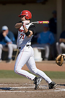 Paul Karmas (31) of the St. John's Red Storm follows through on his swing versus the North Carolina Tar Heels at the 2008 Coca-Cola Classic at the Winthrop Ballpark in Rock Hill, SC, Sunday, March 2, 2008.
