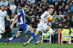 Real Madrid´s Gareth Bale and Deportivo de la Coruna´s Arribas during 2015/16 La Liga match between Real Madrid and Deportivo de la Coruna at Santiago Bernabeu stadium in Madrid, Spain. January 09, 2015. (ALTERPHOTOS/Victor Blanco)