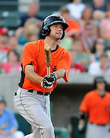 Infielder Travis Adair (15).of the Frederick Keys in a game against the Myrtle Beach Pelicans on August 4, 2012, at TicketReturn.Com Field in Myrtle Beach, South Carolina. Myrtle Beach won, 4-3. (Tom Priddy/Four Seam Images)