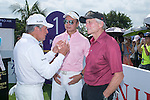 Gary Player (left), Tenniel Chu (centre) and Michael Douglas (right) at the 1st hole during the World Celebrity Pro-Am 2016 Mission Hills China Golf Tournament on 22 October 2016, in Haikou, China. Photo by Marcio Machado / Power Sport Images