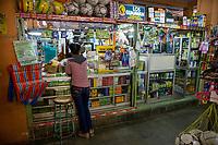 Yogyakarta, Java, Indonesia.  Shop Selling Toiletries and Personal Care Items,  Beringharjo Market.