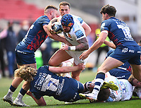23rd April 2021; Ashton Gate Stadium, Bristol, England; Premiership Rugby Union, Bristol Bears versus Exeter Chiefs; Jack Nowell of Exeter Chiefs is tackled by Dan Thomas, Piers O'Conor and Andy Uren of Bristol Bears