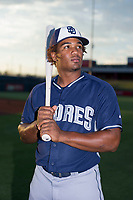 AZL Padres 2 Eguy Rosario (1) poses for a photo before a game against the AZL Cubs on August 28, 2017 at Sloan Park in Mesa, Arizona. AZL Cubs defeated the AZL Padres 2 9-4. (Zachary Lucy/Four Seam Images)