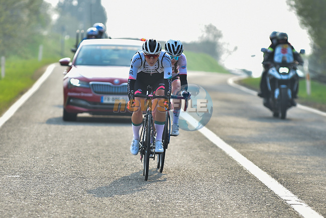 The early breakaway with Marta Lach (POL) Ceratizit–WNT Pro Cycling Team and Femke Gerritse (NED) Parkhotel Valkenburg during the 2021 Flèche-Wallonne Femmes, running 130.2 km from Huy to Huy, Belgium. 21st April 2021.  <br /> Picture: A.S.O./Gautier Demouveaux   Cyclefile<br /> <br /> All photos usage must carry mandatory copyright credit (© Cyclefile   A.S.O./Gautier Demouveaux)