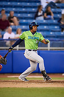 Lynchburg Hillcats first baseman Emmanuel Tapia (28) follows through on a swing during a game against the Salem Red Sox on May 10, 2018 at Haley Toyota Field in Salem, Virginia.  Lynchburg defeated Salem 11-5.  (Mike Janes/Four Seam Images)