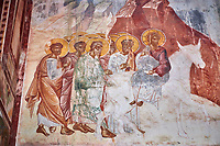 Pictures & images of the Byzantine fresco panels on the north wall of the Gelati Georgian Orthodox Church of the Virgin, 1106, depicting Christ riding on a Donkey.  The medieval Gelati monastic complex near Kutaisi in the Imereti region of western Georgia (country). A UNESCO World Heritage Site.