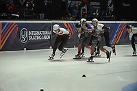 SPEEDSKATING: DORDRECHT: 05-03-2021, ISU World Short Track Speedskating Championships, QF 1500m Men, Adrian Luedtke (GER), Maxime Laoun (CAN), Steven Dubois (CAN), ©photo Martin de Jong