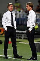 Gabriele Oriali and Roberto Mancini coach of Italy talk during the Qatar 2022 world cup qualifying football match between Italy and Lithuania at Citta del tricolore stadium in Reggio Emilia (Italy), September 8th, 2021. Photo Andrea Staccioli / Insidefoto