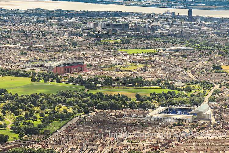 Aerial view of the Four Cathedrals of Liverpool: Goodison Park, home of Everton FC; Anfield, home of Liverpool FC; the Anglican Cathedral; and the Metropolitan Cathedral of Christ the King