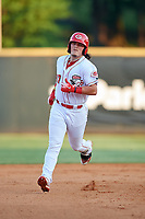 Greeneville Reds first baseman Rylan Thomas (37) rounds the bases after hitting a home run in the bottom of the fourth inning during a game against the Pulaski Yankees on July 27, 2018 at Pioneer Park in Tusculum, Tennessee.  Greeneville defeated Pulaski 3-2.  (Mike Janes/Four Seam Images)