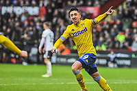Leeds United's midfielder Pablo Hernandez (19) celebrates the winning goal during the Sky Bet Championship match between Sheff United and Leeds United at Bramall Lane, Sheffield, England on 1 December 2018. Photo by Stephen Buckley / PRiME Media Images.