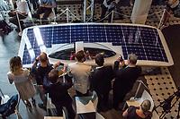 """Vorstellung des Solar-Sonnenwagens, der von Studenten der RWTH Aachen entwickelt wurde.<br /> Der chinesische Konzern Huawei und die Bundesumweltministerin Barbara Hendricks stellten am Donnerstag den 20. Juli 2017 in Berlin den """"Huawei Solar-Sonnenwagen"""". Nach zwei Jahren Entwicklungs- und Bauzeit wollen die Studenten im Oktober mit dem Wagen an der World Solar Challenge teilnehmen und 3.022 Kilometer durch Australien fahren.<br /> Massgeblich gefoerdert wird das Projekt vom chinesischen Konzern Huawei.<br /> 20.7.2017, Berlin<br /> Copyright: Christian-Ditsch.de<br /> [Inhaltsveraendernde Manipulation des Fotos nur nach ausdruecklicher Genehmigung des Fotografen. Vereinbarungen ueber Abtretung von Persoenlichkeitsrechten/Model Release der abgebildeten Person/Personen liegen nicht vor. NO MODEL RELEASE! Nur fuer Redaktionelle Zwecke. Don't publish without copyright Christian-Ditsch.de, Veroeffentlichung nur mit Fotografennennung, sowie gegen Honorar, MwSt. und Beleg. Konto: I N G - D i B a, IBAN DE58500105175400192269, BIC INGDDEFFXXX, Kontakt: post@christian-ditsch.de<br /> Bei der Bearbeitung der Dateiinformationen darf die Urheberkennzeichnung in den EXIF- und  IPTC-Daten nicht entfernt werden, diese sind in digitalen Medien nach §95c UrhG rechtlich geschuetzt. Der Urhebervermerk wird gemaess §13 UrhG verlangt.]"""