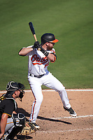 Baltimore Orioles Mason McCoy (82) bats during a Major League Spring Training game against the Pittsburgh Pirates on February 28, 2021 at Ed Smith Stadium in Sarasota, Florida.  (Mike Janes/Four Seam Images)