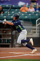 Vermont Lake Monsters Dustin Harris (21) bats during a NY-Penn League game against the Aberdeen IronBirds on August 19, 2019 at Leidos Field at Ripken Stadium in Aberdeen, Maryland.  Aberdeen defeated Vermont 6-2.  (Mike Janes/Four Seam Images)