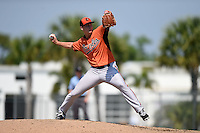 Baltimore Orioles pitcher Matthew Grimes (35) during a minor league spring training game against the Boston Red Sox on March 20, 2015 at the Buck O'Neil Complex in Sarasota, Florida.  (Mike Janes/Four Seam Images)