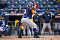 Brian Celsi (3) of the California Golden Bears squares to bunt against the Duke Blue Devils at Durham Bulls Athletic Park on February 20, 2016 in Durham, North Carolina.  The Blue Devils defeated the Golden Bears 6-5 in 10 innings.  (Brian Westerholt/Four Seam Images)