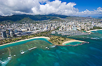 Aerial of Ala Moana beach park and magic island, Oahu