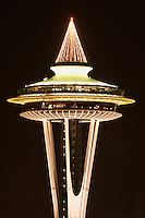 Nighttime scene of top half of Seattle Space Needle, Seattle Center, Seattle, Washington, US