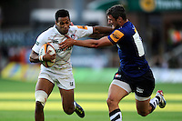 20130802 Copyright onEdition 2013 ©<br /> Free for editorial use image, please credit: onEdition.<br /> <br /> Tahir El Mahdi of Leicester Tigers 7s is tackled by Tom Brady of Sales Sharks 7s during the J.P. Morgan Asset Management Premiership Rugby 7s Series.<br /> <br /> The J.P. Morgan Asset Management Premiership Rugby 7s Series kicks off for the fourth season on Thursday 1st August with Pool A at Kingsholm, Gloucester with Pool B being played at Franklin's Gardens, Northampton on Friday 2nd August, Pool C at Allianz Park, Saracens home ground, on Saturday 3rd August and the Final being played at The Recreation Ground, Bath on Friday 9th August. The innovative tournament, which involves all 12 Premiership Rugby clubs, offers a fantastic platform for some of the country's finest young athletes to be exposed to the excitement, pressures and skills required to compete at an elite level.<br /> <br /> The 12 Premiership Rugby clubs are divided into three groups for the tournament, with the winner and runner up of each regional event going through to the Final. There are six games each evening, with each match consisting of two 7 minute halves with a 2 minute break at half time.<br /> <br /> For additional images please go to: http://www.w-w-i.com/jp_morgan_premiership_sevens/<br /> <br /> For press contacts contact: Beth Begg at brandRapport on D: +44 (0)20 7932 5813 M: +44 (0)7900 88231 E: BBegg@brand-rapport.com<br /> <br /> If you require a higher resolution image or you have any other onEdition photographic enquiries, please contact onEdition on 0845 900 2 900 or email info@onEdition.com<br /> This image is copyright the onEdition 2013©.<br /> <br /> This image has been supplied by onEdition and must be credited onEdition. The author is asserting his full Moral rights in relation to the publication of this image. Rights for onward transmission of any image or file is not granted or implied. Changing or deleting Copyright information is illegal as specified in the