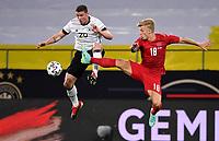 2nd June 2021, Tivoli Stadion, Innsbruck, Austria; International football friendly, Germany versus Denmark;  Robin Gosens challenges Daniel Waas  of Denmark
