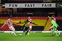 4th November 2020; Vicarage Road, Watford, Hertfordshire, England; English Football League Championship Football, Watford versus Stoke City; Ismaïla Sarr shoots and goes close for Watford.
