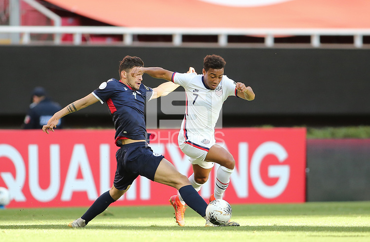 ZAPOPAN, MEXICO - MARCH 21: Jonathan Lewis #7 of the United States battles for the ball during a game between Dominican Republic and USMNT U-23 at Estadio Akron on March 21, 2021 in Zapopan, Mexico.