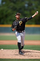 Pittsburgh Pirates Roger Santana (3) during a minor league Spring Training game against the Philadelphia Phillies on March 13, 2019 at Pirate City in Bradenton, Florida.  (Mike Janes/Four Seam Images)
