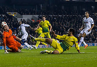12.12.2013 London, England. Anzhi Makhachkala forward Serder Serderov (28) unlucky to see this effort go wide during the Europa League game between Tottenham Hotspur and Anzhi Makhachkala from White Hart Lane.