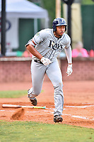 Princeton Rays first baseman Vincent Byrd (24) runs to first base during game two of the Appalachian League Championship Series against the Elizabethton Twins at Joe O'Brien Field on September 5, 2018 in Elizabethton, Tennessee. The Twins defeated the Rays 2-1 to win the Appalachian League Championship. (Tony Farlow/Four Seam Images)