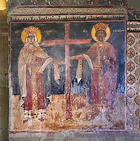 Pictures & images of the interior medieval fresco depicting a Georgian King and Queen. The Eastern Orthodox Georgian Svetitskhoveli Cathedral (Cathedral of the Living Pillar) , Mtskheta, Georgia (country). A UNESCO World Heritage Site.<br /> <br /> Currently the second largest church building in Georgia, Svetitskhoveli Cathedral is a masterpiece of Early Medieval architecture completed in 1029 by Georgian architect Arsukisdze on an earlier site dating back toi the 4th century.