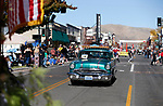 The Nevada Northern Railway entry, a 1956 Pontiac Chieftain Station Wagon, rides in the Nevada Day parade in Carson City, Nev., on Saturday, Oct. 26, 2019.  <br /> Photo by Cathleen Allison/Nevada Momentum