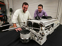 May 23, 2017. San Diego, CA. USA.|Diakont's Director of Energy Services Brian Carlson, left and Managing Director Edward Petit de Mange  with their companies Stingray System.  |Photos by Jamie Scott Lytle. Copyright.