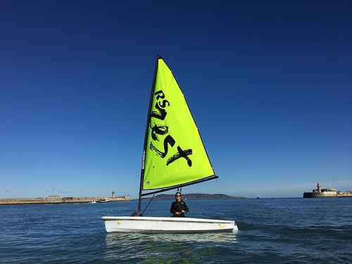 Patricia Kelly trials the INSC's new RS Zest dinghy, before designing a training programme for new club members on these new craft